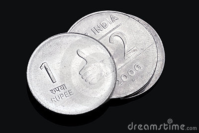Closeup of Indian Rupee Coins