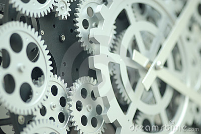Closeup of inner clock gears