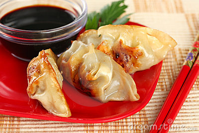 Closeup of Juicy Chinese Fried Potstickers