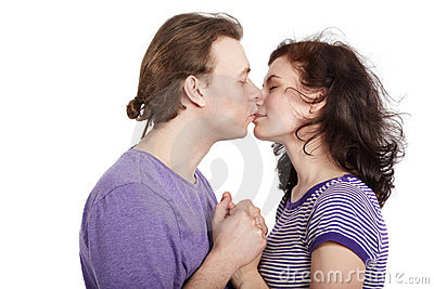 Closeup kissing young couple.
