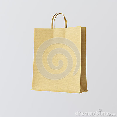Free Closeup Kraft Paper Bag Isolated Center White Empty Background.Mockup Highly Detailed Texture Materials.Space For Stock Photo - 77488520