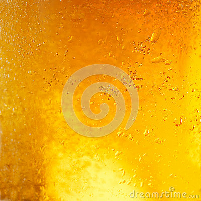 Closeup of light beer in a glass