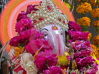 Closeup of Lord Ganesha, a hindu God of good luck