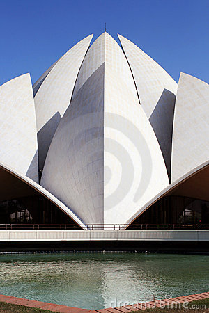 Closeup of Lotus Temple in New Delhi, India