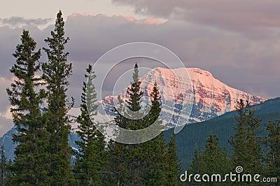 Closeup of majestic mountain at sunset