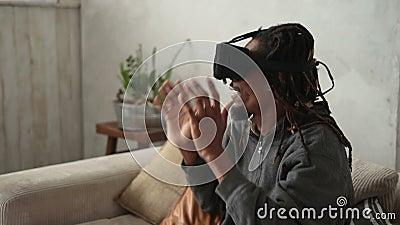 Closeup man putting on virtual reality 3d glasses stock video