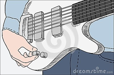 Closeup of man tuning guitar