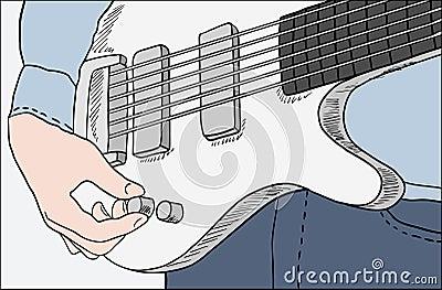 Closeup of man tuning guitar