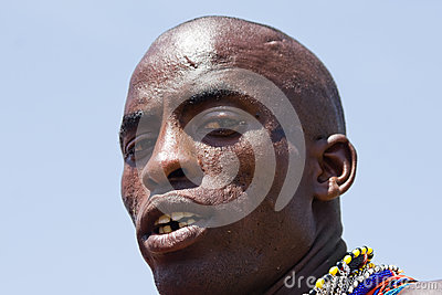 Closeup of a Masai warrior looking into the camera