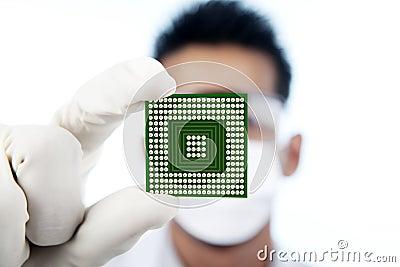 Closeup of microchip computer