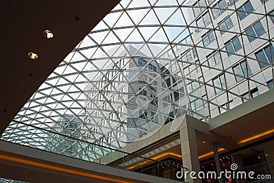 Closeup of modern glass roof