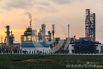 Closeup Morning Oil Refinery