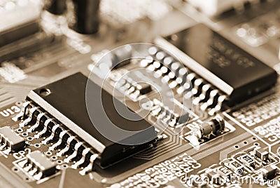 Closeup of motherboard
