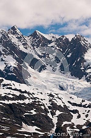 Closeup of mountain peaks