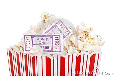 Closeup movie tickets in popcorn