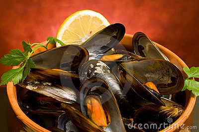 Closeup Of Mussels Soup