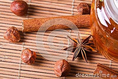 Closeup nuts and honey
