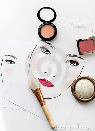 Free Closeup Of Blushers An Brush On A Face Chart Royalty Free Stock Photography - 109711787