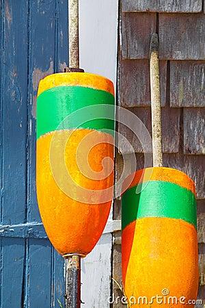 Free Closeup Of Bright Orange Fishing Buoys Stock Photos - 23065293