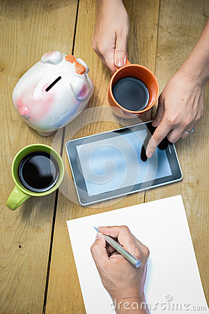 Free Closeup Of Budget Planning With Two Cups Of Coffee Stock Images - 63475344