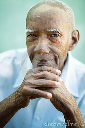 Free Closeup Of Happy Old Black Man Smiling At Camera Stock Image - 25706871