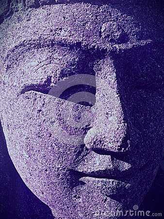 Free Closeup Of Indian Woman Statue Face With Closed Eyes And Ultraviolet Shadows Stock Photo - 112536440