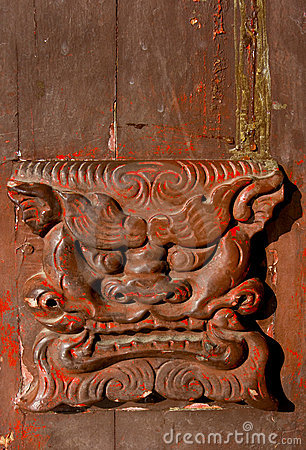 Closeup of old Chinese door handle