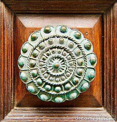 A closeup of an old doorknob