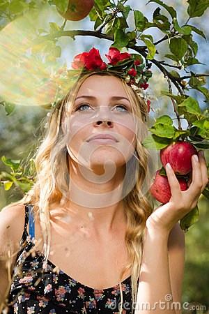 Free Closeup On Beautiful Young Lady Apple Fairy With Three Fruits Stock Images - 66767414