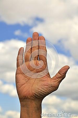 Closeup of open palm