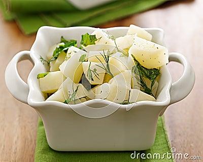 Closeup of organic potato salad