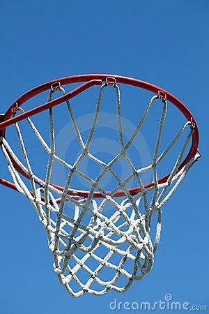 Closeup of outdoor basketball hoop