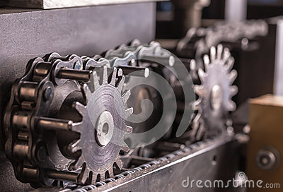 Closeup part of an industrial machine