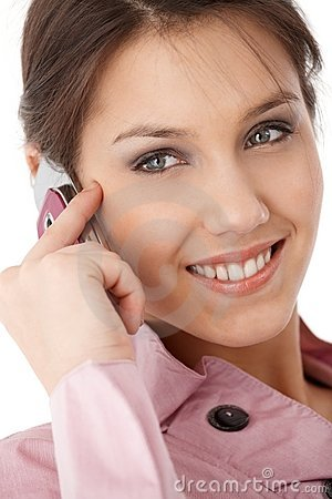 Closeup photo of attractive businesswoman smiling