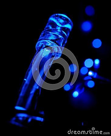 Closeup photo of blue LED garland
