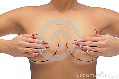 Closeup photo of a Caucasian woman s breasts