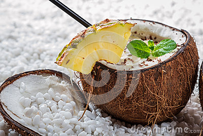Closeup of pinacolada drink with chocolate and pineapple