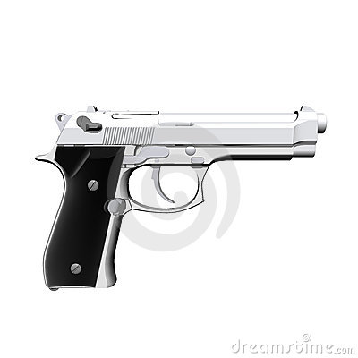 Closeup of pistol isolated on a white