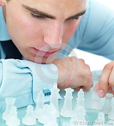 Closeup of playing chess