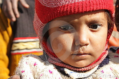 Closeup of a poor child in india Editorial Image