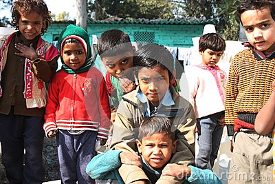 Closeup of poor children from a new delhi slum Editorial Stock Photo