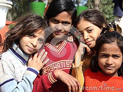 Closeup of poor girls from a new delhi slum Editorial Stock Image