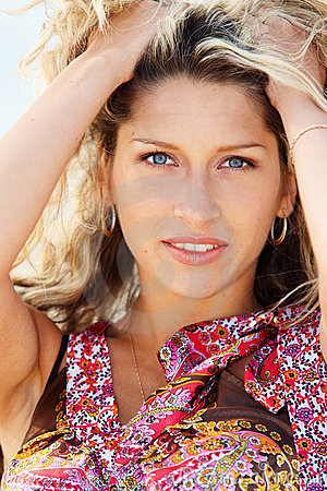 Closeup portrain of a young woman