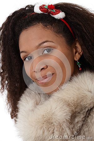 Closeup portrait of afro woman in fur