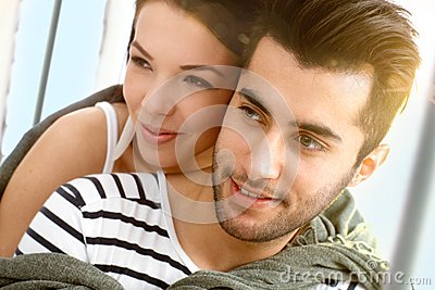 Closeup portrait of attractive loving couple