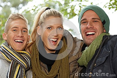 Closeup portrait of attractive smiling people