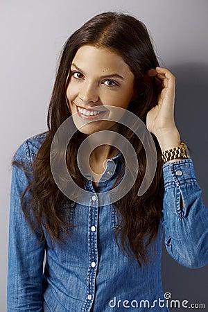Closeup portrait of attractive smiling woman Stock Photo