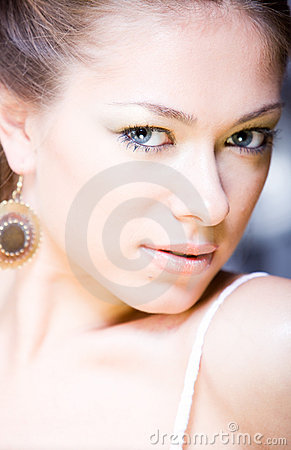 Closeup portrait of attractive young attractive wo