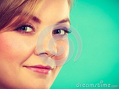 Closeup portrait of beautiful attractive woman smiling Stock Photo