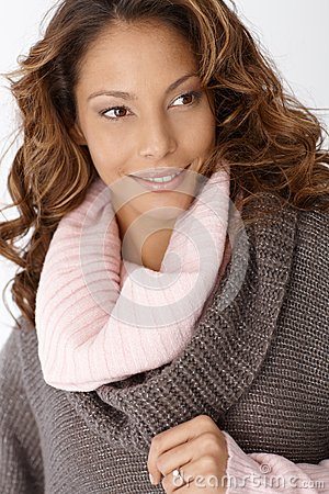 Closeup portrait of beautiful ethnic female